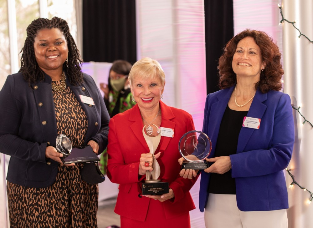 BRI Founder and CEO Sara Silverstone with Athena Young Professional Award winner, Cicely Strickland-Ruiz, COO of United Way of Greater Rochester, and Athena International Award winner, Lauren
