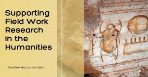 """Picture of artifact with text saying """"Supporting field work research in the humanities"""""""