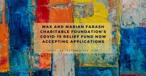 photo of paint with text that says Max and Marian Farash Charitable Foundation's COVID-19 fund now accepting applications