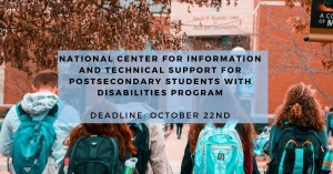 """Image of college students with text that says """"National Center for Information and Technical Support for Postsecondary Students with Disabilities Program"""