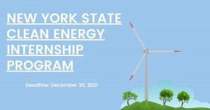 Image of wind turbine with text that says New York State Clean Energy Internship Program